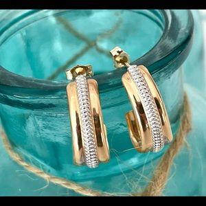 Designer 14K Two Tone Gold J-Hoop Stud Earrings